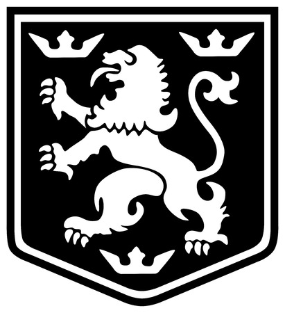 Medieval coat of arms lion with crowns on a shield 일러스트