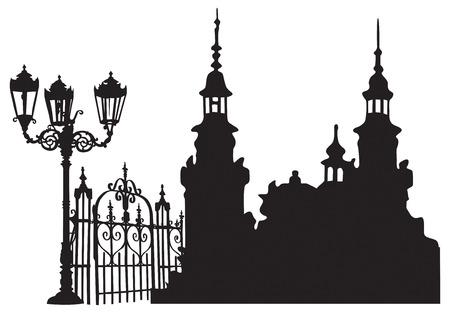 Old European town with lanterns and iron gates