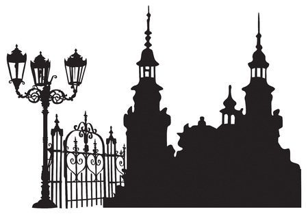 Old European town with lanterns and iron gates