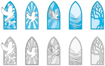 beveled: Vector art depicting isolated stained glass window