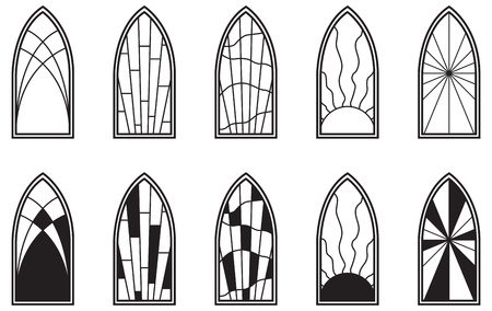 window: Vector art depicting isolated stained glass window