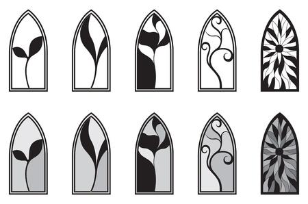 vetrate artistiche: Vector art che raffigurano isolato vetrata