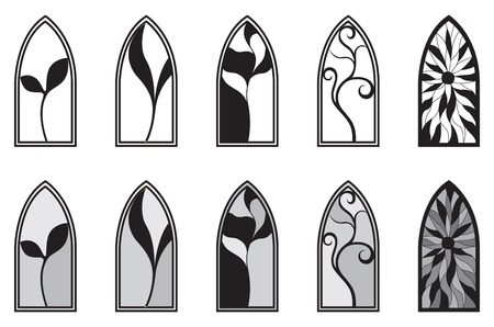 windows frame: Vector art depicting isolated stained glass window