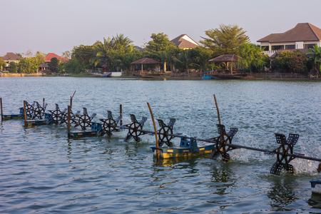 村の湖でパドル ホイール エアレーター