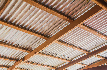 roof beam: zinc roof with wooden beam in Thai country-house