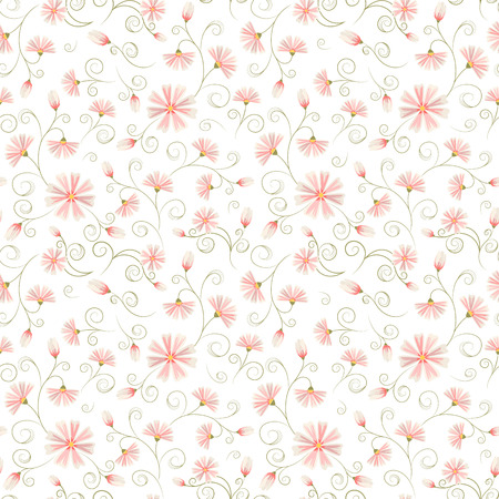 Seamless daisy flower pattern on white background. Frizzy ornate stem leaves.