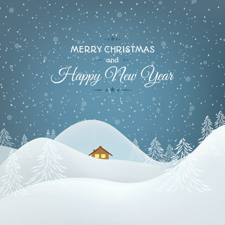 background house: Happy New Year Christmas card template. Snowy mountains landscape. White and blue. Illustration
