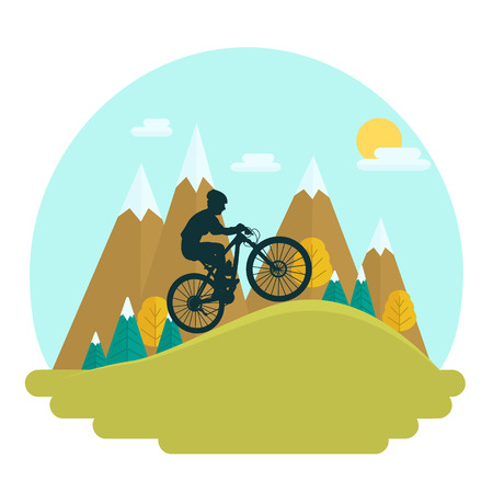 Female mountain bike rider on scenic high peaks background. Cross country race.