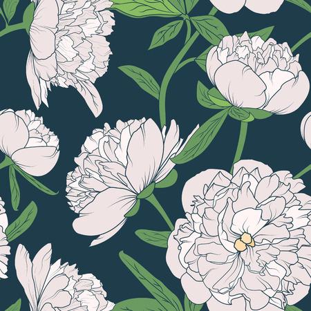 Naadloos bloemenpatroon met pioenen. Roze witte bloemen op donkerblauwe achtergrond.