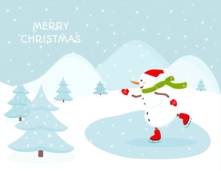 christmas backdrop: Snowman ice skating outdoors on a frozen lake. Hills trees snowfall landscape backdrop. Merry Christmas greeting card template.