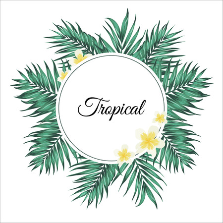 Tropical palm leaves and plumeria flowers. Wreath decoration round frame design element.