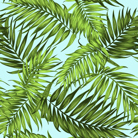 island paradise: Tropical palm leaves seamless pattern. Bright green on light blue island paradise background.