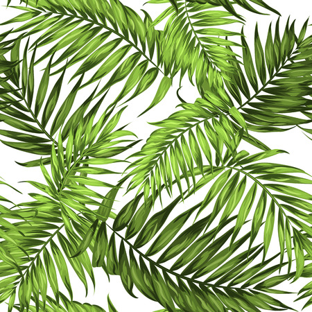 Tropical palm leaves seamless pattern. Bright green on white background.