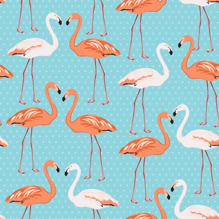 wading: Flamingo couple beak to beak seamless pattern. Exotic leggy wading birds species. Blue polka dot background. Vector design element for decoration, fabric, wrapping, wedding or valentine day card.