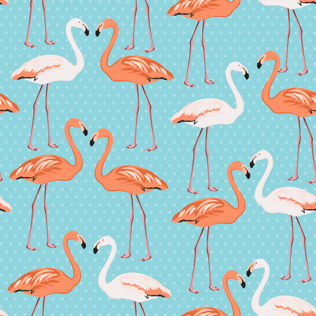 Flamingo couple beak to beak seamless pattern. Exotic leggy wading birds species. Blue polka dot background. Vector design element for decoration, fabric, wrapping, wedding or valentine day card.