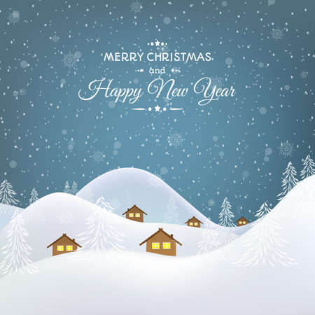 snowfalls: Merry Christmas Happy New Year greeting card template. Mountain village huts and trees landscape. Snowfall snowflakes on blue background. Vector design illustration.
