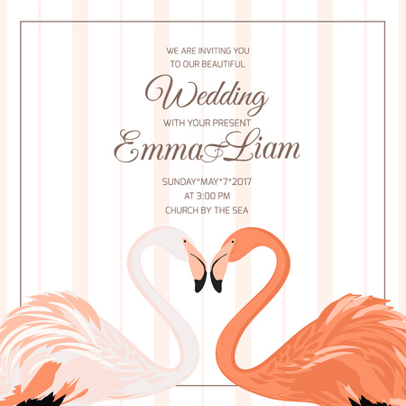 Wedding ceremony event invitation template. Exotic pink flamingo birds couple. Beal to beak. Heart shape. Mating season. Detailed vector design illustration on vertical stripes background.