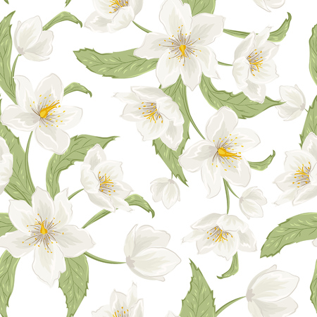 Blooming hellebore flowers foliage. Floral seamless pattern. Helleborus niger. Winter rose. Christmas rose. Lenten Rose. Detailed drawing watercolor style.