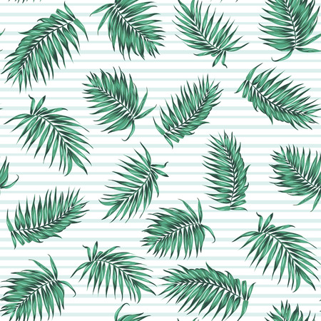 Blue green exotic tropical palm leaves. Loose random seamless pattern on striped background. Vector design illustration.