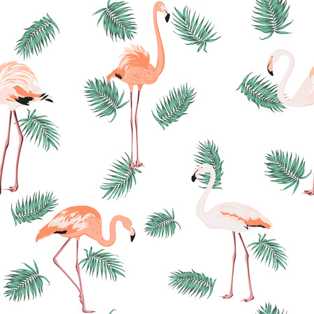 Blue green exotic tropical palm leaves and pink flamingo birds. Loose random seamless pattern on white background. Vector design illustration. Ilustracja