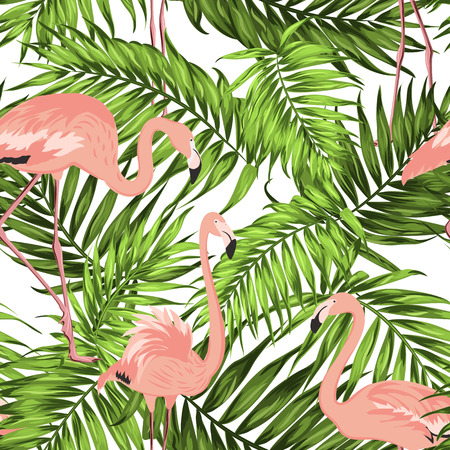 Bright khaki green jungle palm tree leaves. Pink exotic flamingo wading birds. Overlapping tropical seamless pattern on white background. Vector design illustration for fashion, textile, decoration. Vettoriali