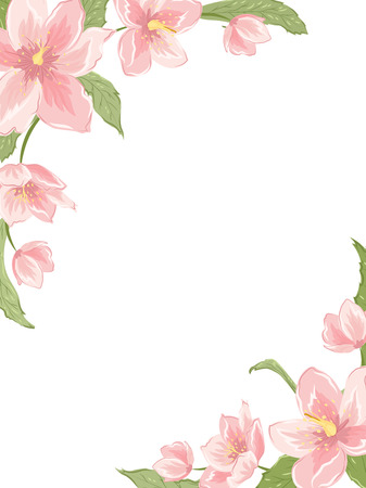 Corner frame template with sakura magnolia hellebore flowers on white background. Vertical portrait orientation. Vector design illustration floral garland element for decoration, card, invitation. Ilustracja