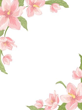 Narożnik ramki szablonu z sakura magnolia hellebore kwiaty na białym tle. Orientacja pionowa w orientacji pionowej. Ilustracja wektora kwiatu garland element dekoracji, karty, zaproszenie. Ilustracje wektorowe