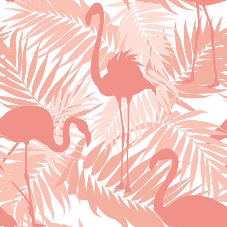 Tropical palm leaves and exotic flamingo birds seamless pattern. Pink sunset beach concept. Overlapping objects repeat ornament texture. Vector design illustration. Illustration