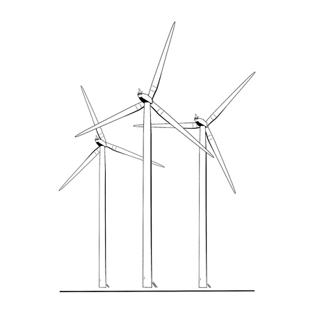 energy production: Wind tubines renewable ecological energy production concept. Power plant windmill generator with rotating wing blades. Kinetic to electic energy. Isolated silhouette black and white illustration.