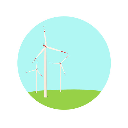 green power: Wind turbines energy farm color blue green icon. Renewable energy concept illustration. Electricity generation in the field. Power supply industry. Realistic detailed vector design illustration.