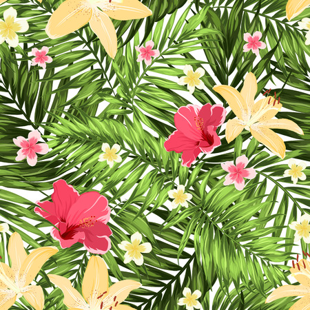 Seamless Tropical Jungle Palm Leaves Pattern with Lily, Hibiscus and Plumeria Flowers.
