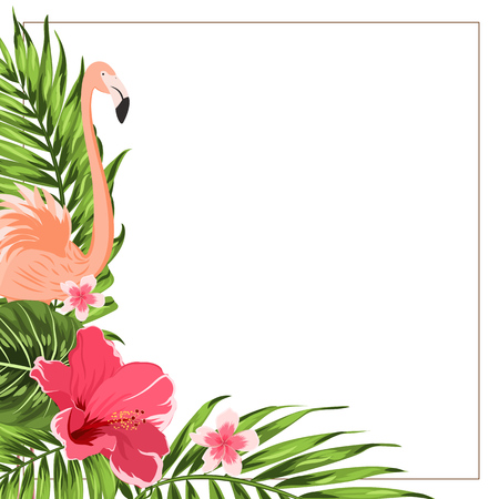 Tropical exotic greenery corner border frame template. Flamingo bird, hibiscus and plumeria flowers, jungle palm tree rain forest composition. Vector design illustration.