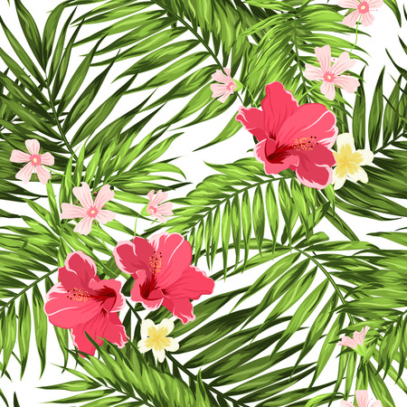 Exotic Tropical Jungle Palm Leaves Seamless Pattern with Hibiscus, Plumeria and Hypsophila Flowers. Bright Greenery Rain Forest Camouflage Repeat Overlapping Texture. Vector Design Illustration.