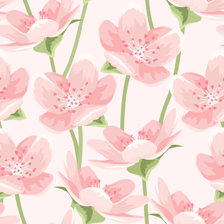 Seamless pattern of blooming spring sakura magnolia cherry blossom flowers. Pink petals, green leaves and stem on light pink background. Detailed floral vector design illustration for decor packaging.