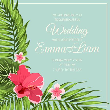 Corner frame template with hibiscus plumeria exotic botanical flowers and tropical jungle palm tree leaves on blue background. Wedding marriage event invitation RSVP card. Vector design illustration. Illustration