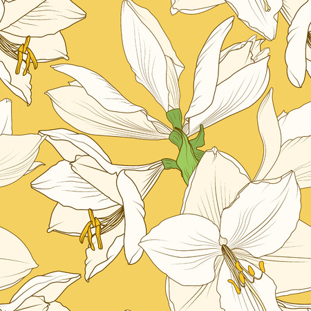 Amaryllis hippeastrum lilly floral seamless pattern. Spring flowers detailed drawing outline sketch on bright yellow. Vector design illustration for textile, fabric, decoration, packaging.