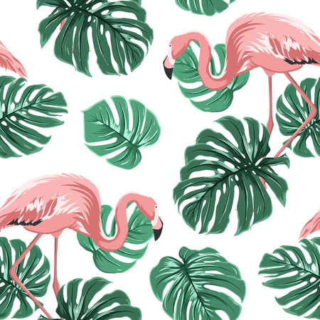 Pink flamingo birds and turquoise green monstera leaves exotic tropical jungle paradise seamless pattern on white backround. design illustration for decoration, fashion, textile, fabric. Vettoriali