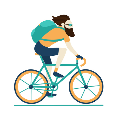 Bicycle delivery logistics courier. Bike messenger bearded male character hipster style. Blue yellow colors. Isolated on white background. Vector design illustration.