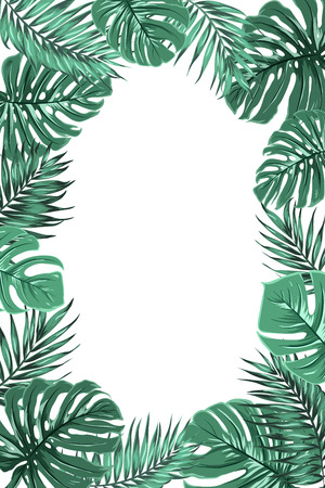 Exotic tropical jungle rainforest bright green palm tree and monstera leaves border frame template on white background. Vertical portrait aspect ratio. Place for text . Vector design illustration.
