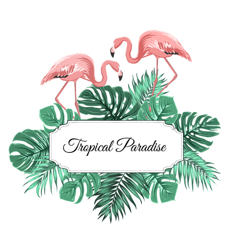 Tropical paradise promotion sale banner horizontal border frame template. Decorated with exotic rain forest palm tree monstera leaves greenery explosion pink flamingo birds couple. Text placeholder. Vettoriali