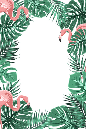 Exotic tropical jungle rain forest bright green palm tree and monstera leaves with pink flamingo birds border frame template on white background. Vertical portrait aspect ratio. Text placeholder. Vettoriali