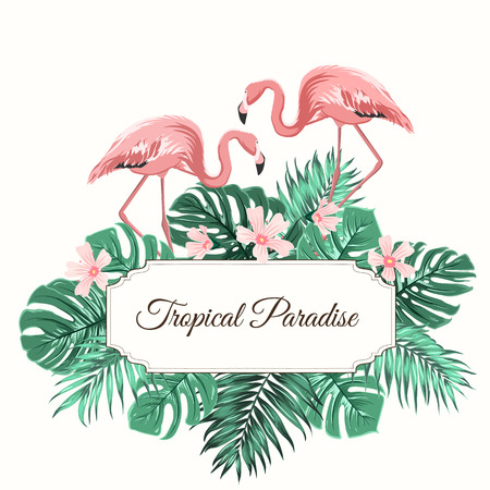 Tropical paradise composition. Rectangular border frame with text placeholder. Decorated with exotic rain forest jungle green palm leaves, pink hypsophila flowers and flamingo birds couple