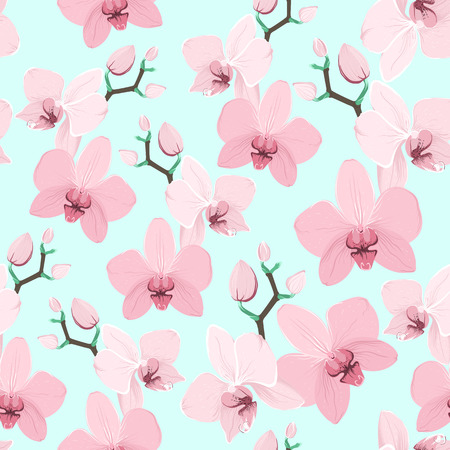Pink purple tender orchid floral seamless pattern. Exotic spring summer flowers bloom blossom foliage garland bouquet. Isolated on blue background. Vector design illustration.