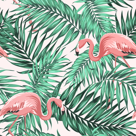Bright green tropical jungle rainforest palm tree leaves. Pink exotic flamingo wading birds couple. Seamless pattern texture on light beige background. Vector design illustration.