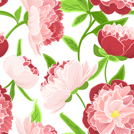 Peony rose flowers realistic detailed vector drawing. Bright fresh spring seamless floral pattern on white background. Red pink green colors.