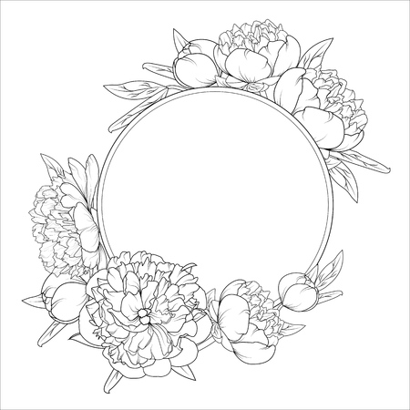 Rose peony spring summer flowers round frame wreath. Detailed outline sketch black and white vector drawing. Design element template placeholder. Illustration