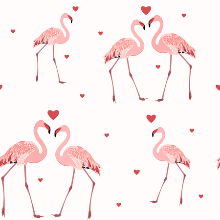 mating: Pink flamingos and red hearts seamless pattern texture on white background. Love passion affection valentine day theme. Vector design illustration.