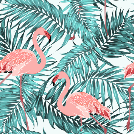 Blue green turquoise tropical jungle rainforest palm tree leaves. Pink exotic flamingo birds couple. Bright red crimson beak and feather. Seamless pattern texture on white background. Illustration