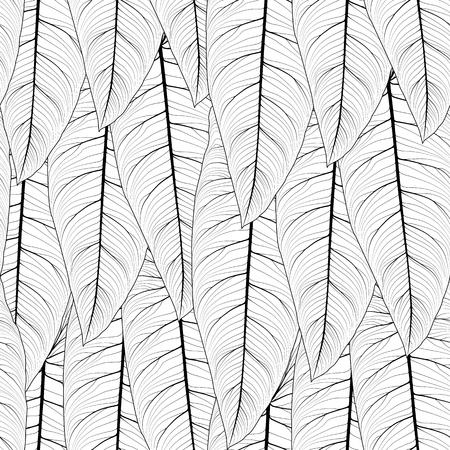 Long tropical leaves overlap side by side repeat seamless pattern texture. Sharp tip, detailed streak fibril line drawing. Vertical top down layout. Vector design illustration. Vektoros illusztráció