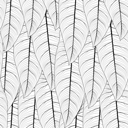 Long tropical leaves overlap side by side repeat seamless pattern texture. Sharp tip, detailed streak fibril line drawing. Vertical top down layout. Vector design illustration.
